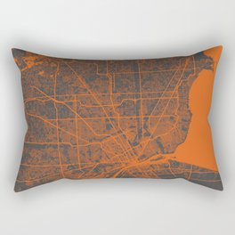 Detroit map orange Rectangular Pillow