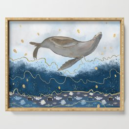 Flying Seal - Rising Waters Surreal Climate Change  Serving Tray