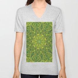 green center swirl mandala Unisex V-Neck