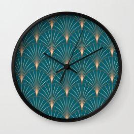 Vintage Art Deco Floral Copper & Teal Wall Clock