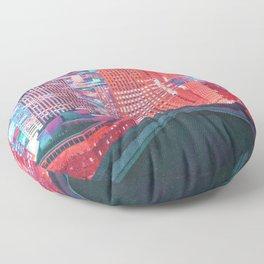 Colorful Dystopian City Floor Pillow