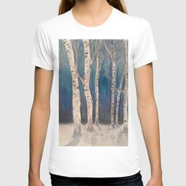 Birch Grove At Midnight T-shirt