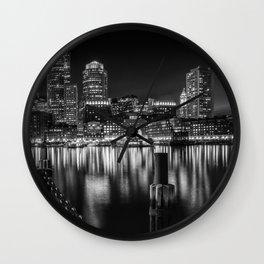 BOSTON Fan Pier Park & Skyline at night   monochrome Wall Clock
