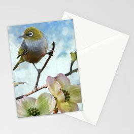 Mejiro in Dogwood Tree Stationery Cards