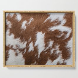 Brown and White Cowhide, Cow Skin Pattern, Farmhouse Decor Serving Tray