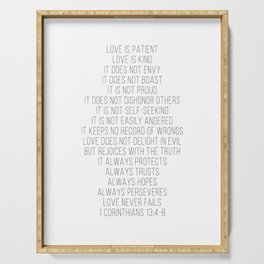 Love Is Patient, Love Is Kind, Does Not Envy, Does Not Boast… 1 Corinthians 13 Script Serving Tray