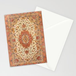 Persia Tabriz 19th Century Authentic Colorful Dusty Tan Red Blush Vintage Patterns Stationery Cards