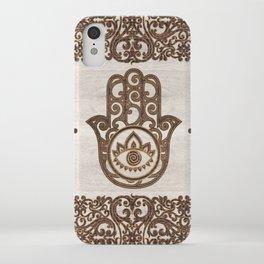 Hamsa Hand - Hand of Fatima  wooden texture iPhone Case