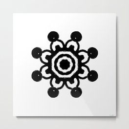 Black and white abstract floral design Metal Print
