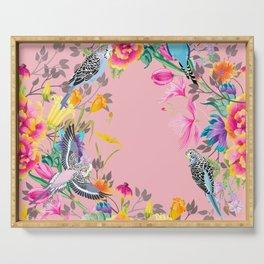 Stardust Pink Floral Birds Motif Serving Tray