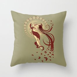 Madame Butterly Throw Pillow