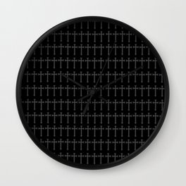 black crosses pattern, gothic pattern Wall Clock