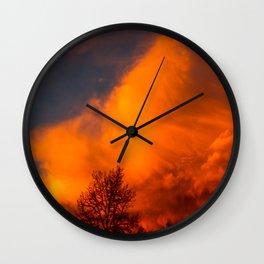 Orange Colorado Sunrise Wall Clock