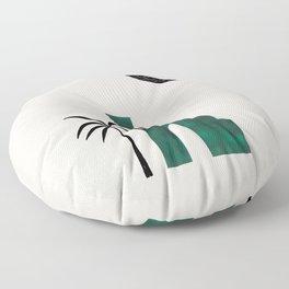 Emerald Green Minimalist Mid Century Ancient Minimal Ruin Architecture Moon Lit Palm Trees Ejaaz Haniff Floor Pillow