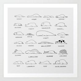 Moody Animals Pattern Art Print