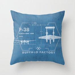 BUFFALO FACTORY P-38 Throw Pillow