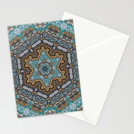 Aqua, Gold and Blue Tile 3 Stationery Cards