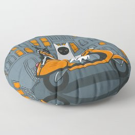 Ghost and Skellie Cat Moped Ride Floor Pillow