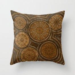 Dot Art Circles Abstract Browns and gold Throw Pillow