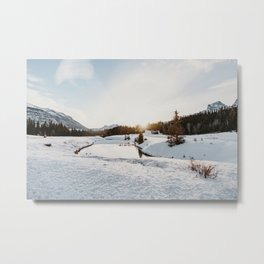 Winter in Canada - Snow Winter Landscape little lake mountain view Metal Print