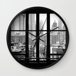 New York City Window Black and White Wall Clock