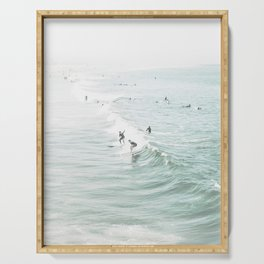 Surfer Waves Costal Ocean Serving Tray