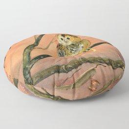 Colorful Owl Art Floor Pillow
