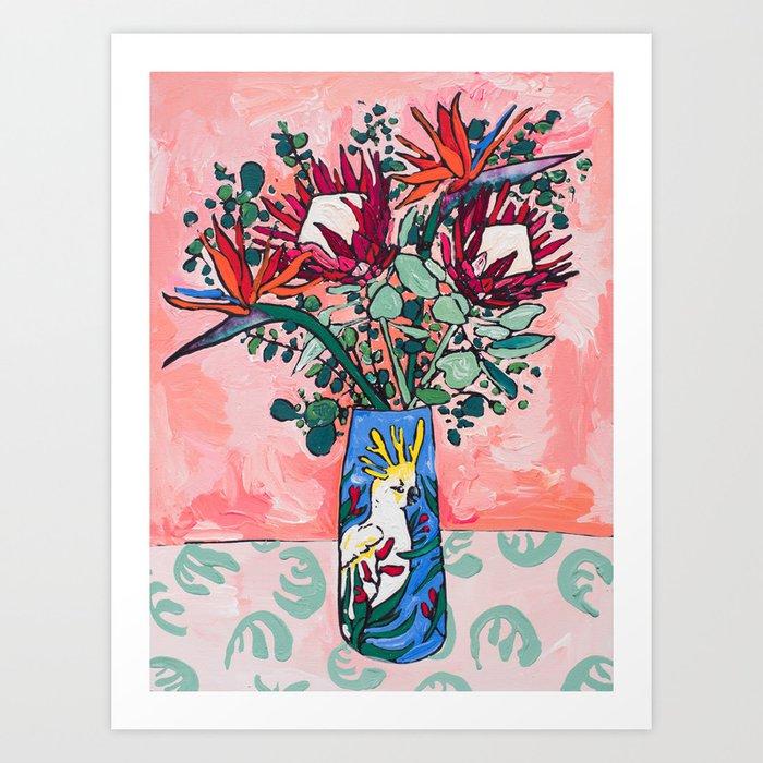 Cockatoo Vase on Painterly Pink Kunstdrucke