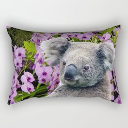 Koala and Orchids Rectangular Pillow