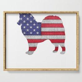Patriotic American Eskimo Love Flag Vintage Funny Gift T-Shirt Serving Tray