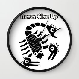 Never give up black Wall Clock