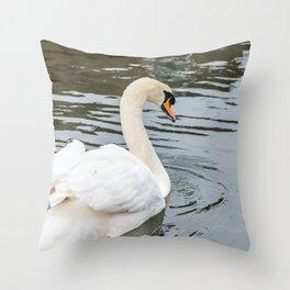 Mute swan swimming Throw Pillow