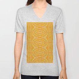Golden Glow Deep Modern Tribal Geometric Unisex V-Neck