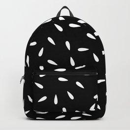 White Raindrops on Black background Backpack