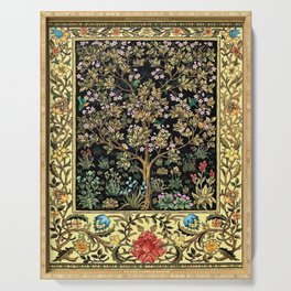 William Morris Northern Garden with Daffodils, Dogwood, & Calla Lily Floral Textile Print Serving Tray