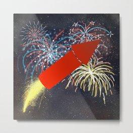 Fireworks Technician Metal Print