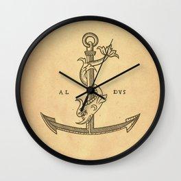 Aldus Manutius Printer Mark Wall Clock