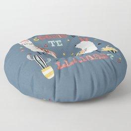 Como te Llamas. Funny Spanish Word Humor. Potted Cacti and two Llamas Floor Pillow