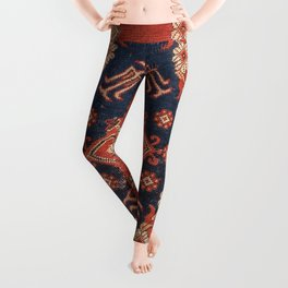 Southwest Tuscan Shapes I // 18th Century Aged Dark Blue Redish Yellow Colorful Ornate Rug Pattern Leggings