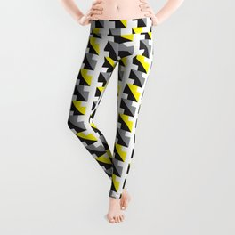 Geometric Pattern 242 (yellow gray boxes) Leggings