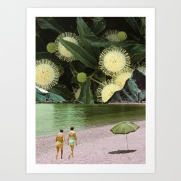Green leaves beach Art Print