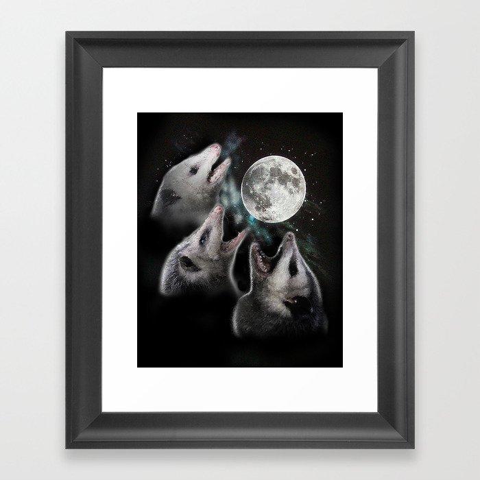 3 opossum moon Gerahmter Kunstdruck