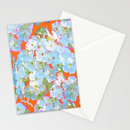 CUMIN ORANGE COLOR & WHITE LACE FLORAL GARDEN Stationery Cards