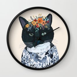 Black and White cat with flower crown Wall Clock