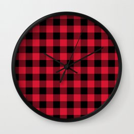 Red Flannel Buffalo Plaid Lumberjack Wall Clock