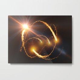 Flying Comets and light rays, digital art Metal Print