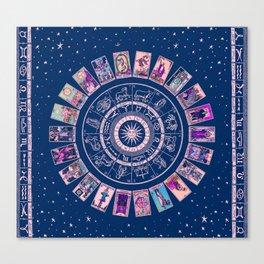 Major Arcana & Wheel of the Zodiac | Pastel Goth Canvas Print
