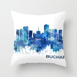 Bucharest Romania Skyline Blue Throw Pillow
