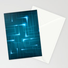 Blue Neon Circuit Board Design Stationery Cards