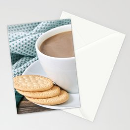 Coffee with milk and cookies Stationery Cards